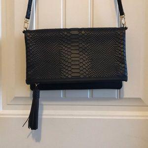 Gigi New York Navy leather crossbody bag/clutch